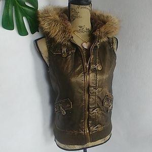 Monoreno Faux Leather Bomber Vest